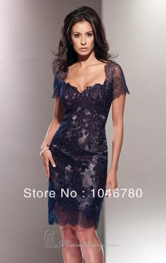 Fashionable Sweetheart Cap Short Sleeve  Lace All Body  A-Line Knee-Length  Short  Mother Of The Bride Dress $129.00