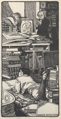"""Jack-a-Boy reading. Illustration by Elizabeth Shippen Green. FromJack-a-Boyby Willa Sibert Cather.The Saturday Evening Post, March 30, 1901.""""Jack-a-Boy curled himself up on the soft, woolly hearth rug, his chin propped on his hands and the book open before him, and the Professor went back to his desk and forgot Jack-a-Boy's existence."""""""