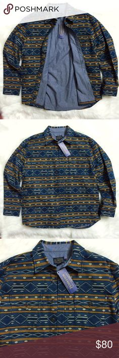 Pendleton Silver Creek Jacquard Button Down Shirt Brand new with tags, men's size Large. This Pendleton Silver Creek Jacquard Button Down Shirt features an iconic Pendleton print on the exterior, with a blue cotton lining for the interior. Double layered with warmth. This silver creek is composed of a gorgeous blue accented by navy blue, off white and mustard yellow. Made of 100% Cotton. Collared shirt with two front buttoned pockets. Such a beautiful tribal inspired design, you can…