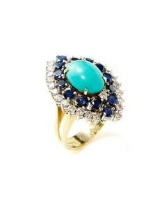 Estate Ca. 1960 Turquoise & Sapphire Marquise Ring by Tara Compton