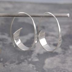 Flared Ribbon Sterling Silver Hoop Earrings