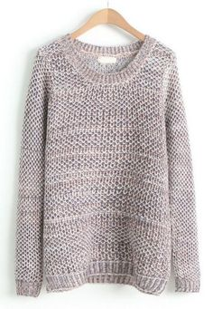 Womens Casual Round Neck Waffle Knit Pullover Sweater Top ...