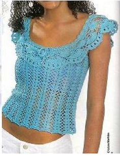 CARAMELO DE CROCHET: crochet remera celeste