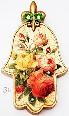Michal Negrin Antique Style Multicolor Roses Crystals Wall Decor Hamsa