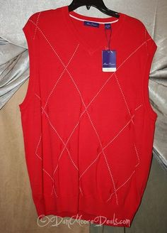 New Mens Red Sweater Vest Size XL by Alan Flusser Classic Retail $65 00 | eBay