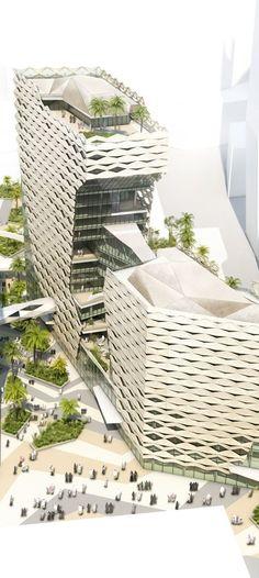 King Abdullah Financial District KAFD, Parcel 1.11, Riyadh, Saudi Arabia designed by Behnisch Architekten Urban Design Plan, Skin Structure, Senior Project, Office Buildings, Riyadh, Skyscrapers, Conception, Sustainable Design, Building Design