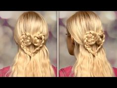 Romantic half up half down hairstyle with a braided heart