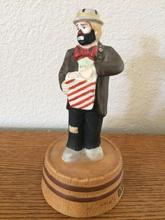 Wind-up Emmett Kelly Jr Ceramic Hobo Clown Figurine By Flambro