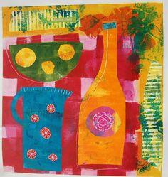 Printmaking - Mandy Pattullo  Monotype. I love these bright colors!