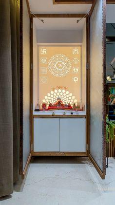 Architectural Design - The Architects Diary Pooja Room Door Design, Home Room Design, Home Interior Design, House Design, Temple Design For Home, Home Temple, Bedroom Furniture Design, Home Decor Furniture, Mandir Design