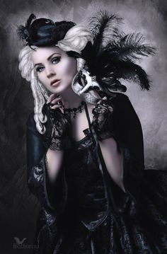 She's cute with her Gothic masquerade mask. Mode Steampunk, Gothic Steampunk, Victorian Gothic, Steampunk Fashion, Gothic Fashion, Style Fashion, Steampunk Couture, Fashion Ideas, Dark Gothic