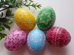 Set of 5 Easter Eggs Polish Pysanky WaxEmbossed by EggstrArt, $69.95