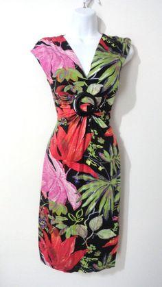 Cache Floral Flower V-neck Bodycon Stretch Dress Evening Cocktail 4 Small S #Cache #EveningDress #Cocktail