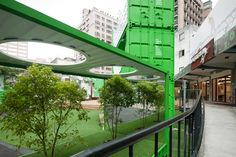 TPE_02 Container Cafe, Container Houses, Container Design, Shipping Container Homes, Shipping Containers, Taipei, Food Truck, Pavilion, Custom Homes