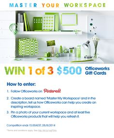 Win 1 of 3 $500 Officeworks Gift Cards. Click on the image to view T&Cs. #mastermyworkspace @officeworks  Officeworks wouldn't help me 'create' they'd help me 'transform' my messy excuse for a desk!