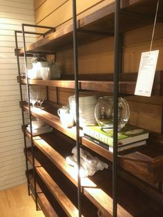 Super Easy Industrial Shelving DIY [#LowesCreator] - Tatertots and Jello - I'd love to have this instead of upper cabinets in our kitchen