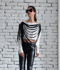 NEW White Crop Top with Black Leather Fringes/Short Sexy Sleeve Top/Extravagant Leather Tank Top/Summer CasualFringe Top by METAMORPHOZA