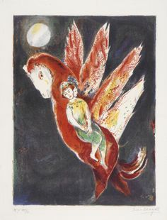 """Marc Chagall (Russian, 1887-1985), """"Then the Old Woman Mounted on Ifrit's Back"""" from the series """"Four Tales from the Arabian Nights,"""" 1948; Indianapolis Museum of Art, Carl H. Lieber Memorial Fund, 49.5.8A; © The Estate of Marc Chagall/2007 Artists Rights Society (ARS), New York / ADAGP, Paris"""