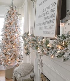 Bright White Home Series - Christmas Edition - Summer Adams, Bright White Home Series – Christmas Edition White Christmas decor Mantle Idea with garland Classy Christmas, Beautiful Christmas, Christmas Home, White Christmas, Christmas Ideas, Christmas Kitchen, Christmas 2019, Vintage Christmas, Christmas Nativity Scene