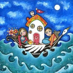 Familia arte imprimir madre de casa barco y por LindyLonghurst