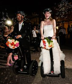 It's a Segway wedding! Bride and groom 'walking' down the aisle!