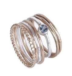 These pretty stack rings come in a mix of materials which gives it a vintage feel. I have used sterling silver and gold-filled with semi precious s. Throat Chakra, Stacking Rings, Stones, Engagement Rings, Jewels, Jewellery, Sterling Silver, Creative, Pretty