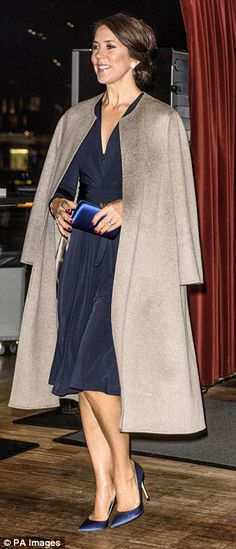 Mary was all smiles as she arrived at the event at the Royal Danish Playhouse...