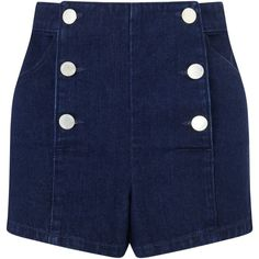 Miss Selfridge Petite Sailor Shorts, Indigo ($24) ❤ liked on Polyvore featuring shorts, pants, bottoms, petite, miss selfridge, nautical shorts, petite shorts and sailor shorts