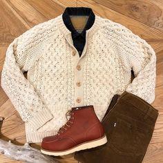 古着Mixスタイル #standardcalifornia #スタンダードカリフォルニア #handknitted #cablesweater #sweater #levis #redwing