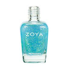 Zoya Nail Polish in Maisie (Fleck Effect Top Coat) - a sheer turquoise blue base with reflective Mylar flakes that shift from green to blue