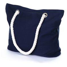 Marine Navy Cotton Beach Bag ($39) ❤ liked on Polyvore featuring bags, handbags, purses, bolsas, accessories, beach purse, blue handbags, hand bags, over the shoulder purse and blue hand bag