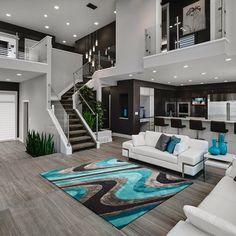 Modern Gray and Purple Living Room - Living Room : Home Decorating Ideas Minimalist House Design, Minimalist Home, Modern House Design, Modern Interior Design, Big Modern Houses, Home Design Living Room, Dream Home Design, Living Room Grey, 3d Home Design