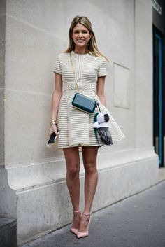 nude white stripes dress