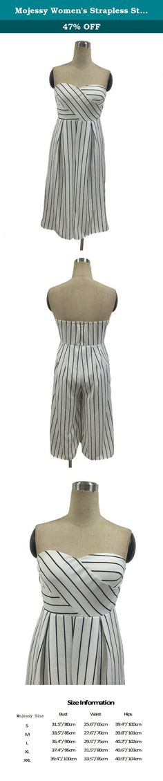 Mojessy Women's Strapless Stripe High Waist Wide Leg Long Pants Jumpsuits Rompers Large White. Mojessy's Jumpsuits are veey fashionable and comfortable. It fits in many occasions: party/club/wedding/cocktail/beach/daily life/night out.etc.love yourself, Love Mojessy, Love Mojessy's jumpsuits. long jumpsuits or short rompers, there must be one style you like! Mojessy is dedicate to forge women's clothing and other accessories which Sign on behalf of fashion. We provide elaborate products…