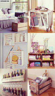 Ideias simples de como você mesmo pode trasformar caixotes de madeira em móveis que tenham a sua cara.