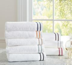 An embroidered string of pearls borrowed from our Pearl Embroidered Bedding punctuates our cotton towels. Bathroom Towels, Bath Towels, Pottery Barn Colors, Embroidered Bedding, String Of Pearls, Bath Linens, Cotton Towels, Furniture Sale, Things To Buy