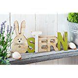 """Heitmann Deco - Holz Schriftzug """"Ostern"""" mit Hase - Dekoration für Ostern - Tischdeko und Raumsschmuck für Osterzeit"""