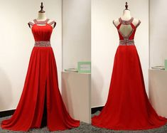 Charming Red Mermaid Prom Dress,Chiffon Long Prom Dress,Beading