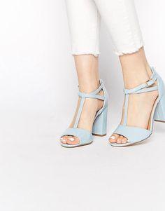 New Look | New Look Register Block Heel Pale BlueT Bar Sandals at ASOS