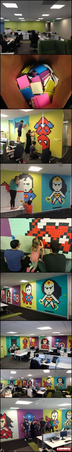 Super heroes in paper pixels