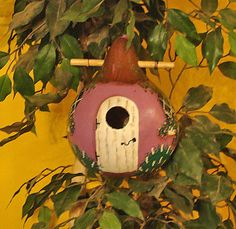 Orchid & White Cottage Gourd Birdhouse  by KaydeeCountryCottage, $20.00
