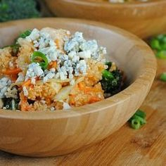 This Buffalo Chicken Quinoa Salad is a perfect gluten free lunch recipe.