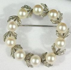 J1833 Vintage Signed Mikimoto 10 Pearls & Sterling Silver Wreath Pin Brooch  #Mikimoto