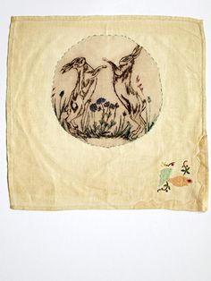 Embroidery onto vintage hankies, Rosemary Milner