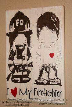 Female Firefighter Distressed Wall Decor by DeenasDesign - https://www.facebook.com/DeenasDesign - $46.00