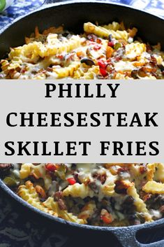 Loaded Philly Cheesesteak Skillet Fries are made with all-natural golden french fries topped with the classic ingredients of a Philly cheesesteak sandwich. Philly Cheese Steak Fries Recipe, Cheese Fries, Homemade Fries, Homemade French Fries, Cooking Ideas, Food Ideas, Cooking Recipes, Potato Dishes, Food Dishes
