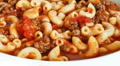 "Goulash (Hamburger) INGREDIENTS • 2 lbs of ground chuck • one small diced onion or 3 tsp. of onion powder • 3 (5 ½) tiny cans of tomato juice • 2 cups of dry elbow macaroni • 2 (14 ½) oz cans stewed tomatoes (put them ""slightly"" through your processor) (home-canned stewed tomatoes taste even better). • 2 tsp. garlic powder • 1 tsp. of Italian Seasoning • 1 tsp. of seasoning salt • ½ tsp. of black pepper • Pinch of granulated sugar • Chili Powder to taste --------- PREPARATIONS • COOK the box…"