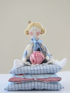 Fairy tale doll Princess  with a rose