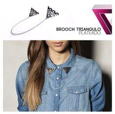 aztec triangle collar brooch