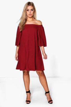884825ca8d474 Plus Maya Off The Shoulder Swing Dress Boohoo Dresses, Fresco, Curvy  Outfits, Dress